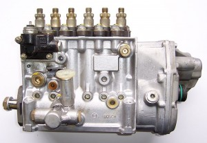 Well-maintained diesel fuel injection pump from a truck.